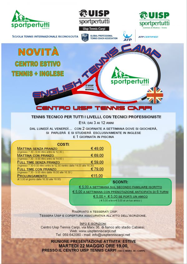 centro estivo English Tennis Camp carpi